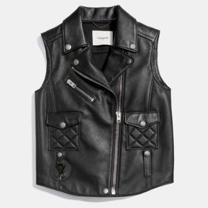NEW! COACH ITALIAN LEATHER BIKER VEST!
